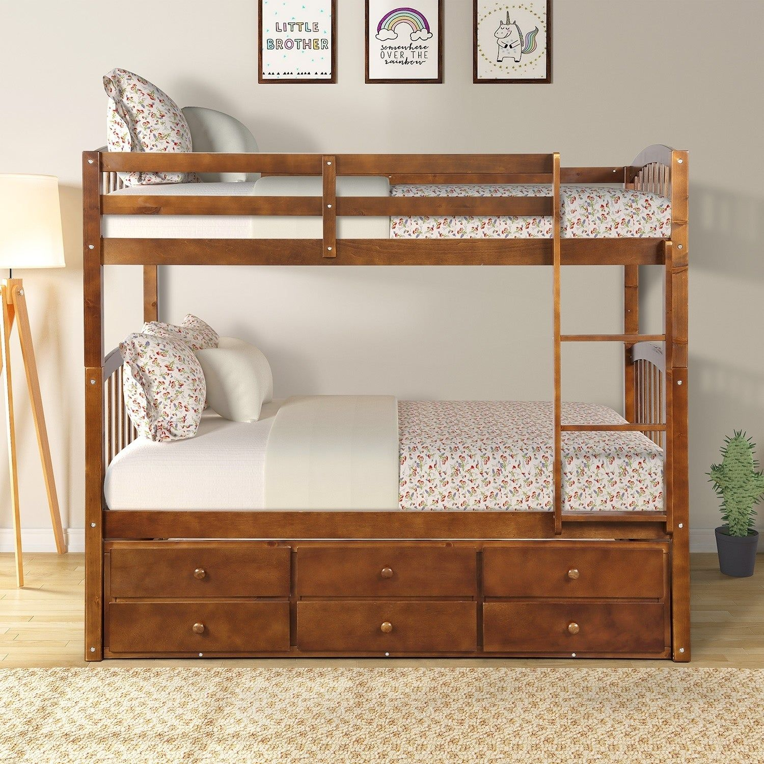 Twin Bunk Bed With Ladder Safety Rail