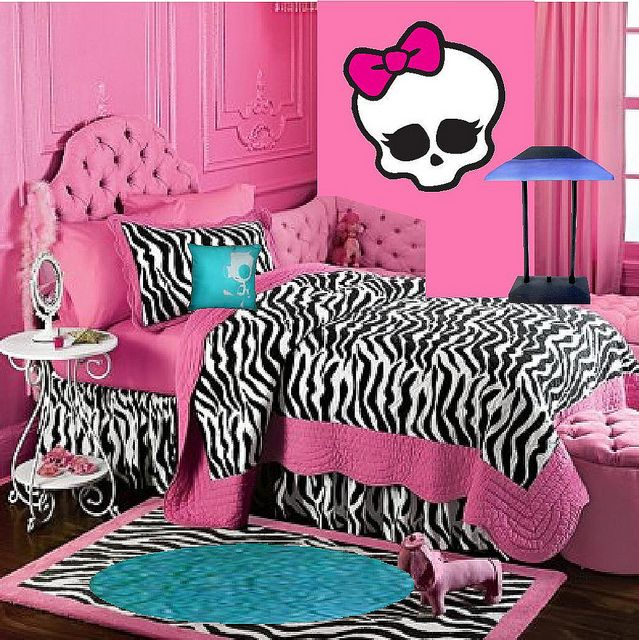 monster high bedroom decorating ideas monster high doll wallpaper art sricker mural handmade room wall decor pink zebra bedrooms 1210