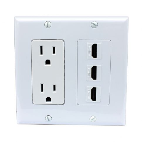 Ethernet And Coax Wall Plate Impressive Combination 15 Amp Power Outlet 3 Port Hdmi Decora Wall Plate  Wall Inspiration Design