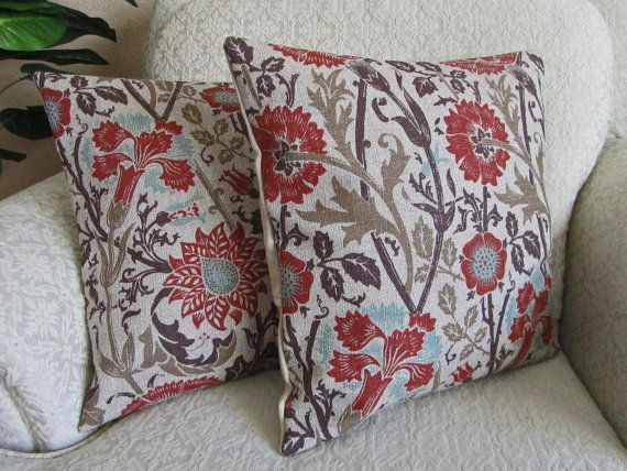 Brown Floral Throw Pillow Covers Taupe Brick Red Burnt Orange
