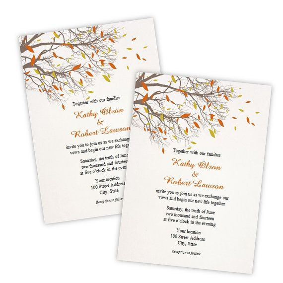 Wedding Invitation - Fall Branches Instant Download DIY - microsoft word template invitation