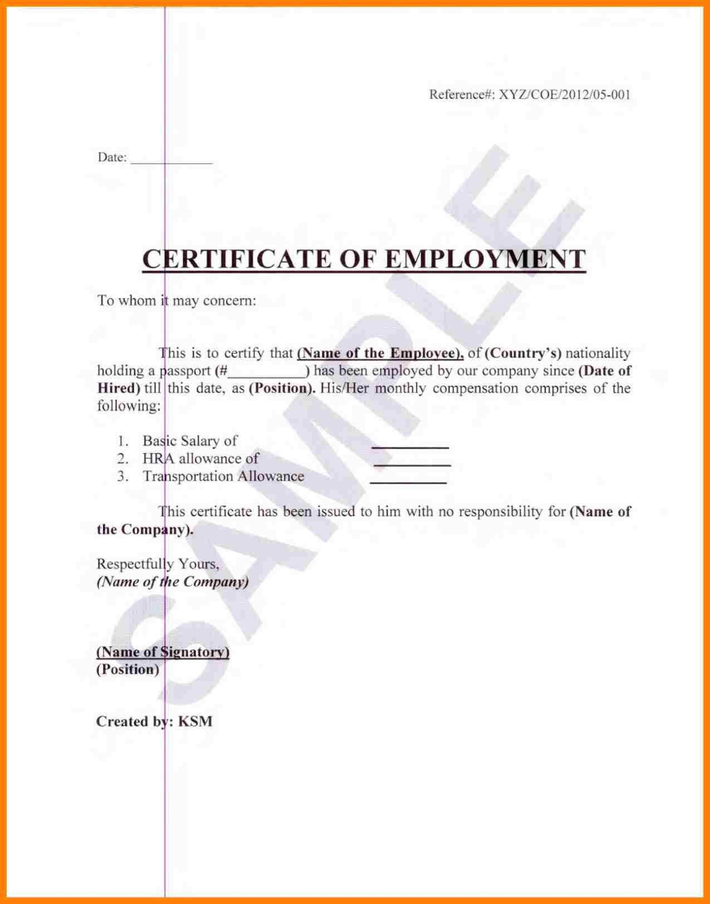 Sample Certification Employment Certificate Tugon Med