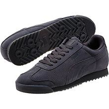 The Roma is the stuff of PUMA Archive legends. The original lightweight training shoe, which debuted in 1968, was geared for sprints and hurdles galore with its padded nylon-suede styling and knack for collecting medals. It's reissued here for everyday wearing, equipped with comfort-enhancing features such as a thick padded tongue and orthopedic arch supports. Now, introducing: a monochrome update of the classic silhouette, complete with perf detailing and an iced rubber outsole…