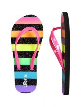Justice Girls Purple Glitter Flip Flops