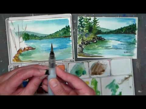 Pond Scene Beginner Watercolor Tutorial Real Time Youtube