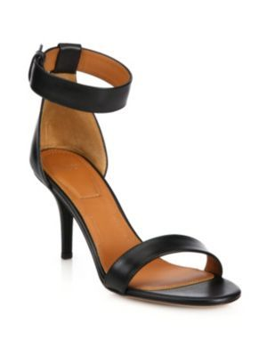 GIVENCHY Infinity Line Leather Ankle-Strap Sandals. #givenchy #shoes #sandals