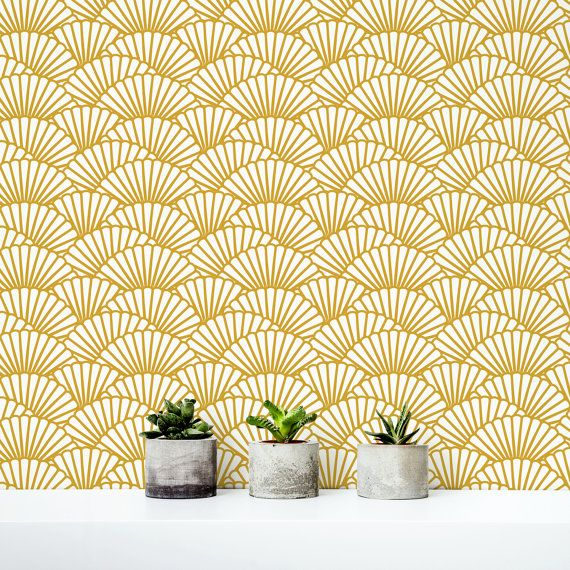 Solid Gold Wallpaper/ Scallop Removable Wallpaper/ Self-adhesive ...