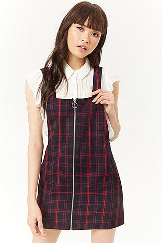 a488cace451 Plaid Pull-Ring Zipper Overall Dress