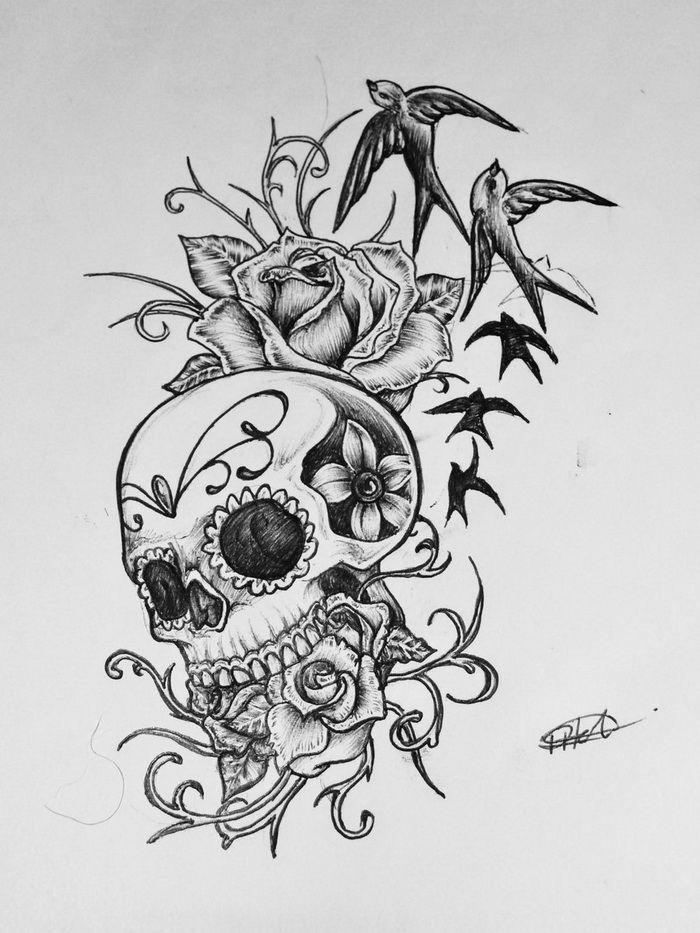 ... - Bed Of Roses Sugar Skull Tattoo Design Tattoo Design 1600x900 Jpg