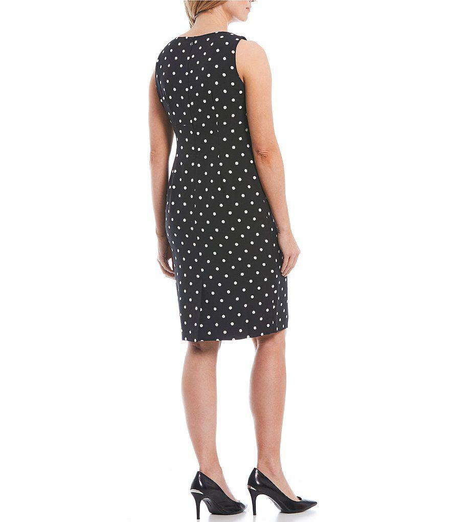 87d51ee5d79 Kasper Crepe Polka Dot Sleeveless Sheath Dress in 2019