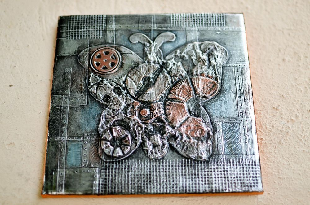 """Original Painting 4"""" Tile Alcohol Ink Metal Steampunk Butterfly OOAK Signed Art #Expressionism"""