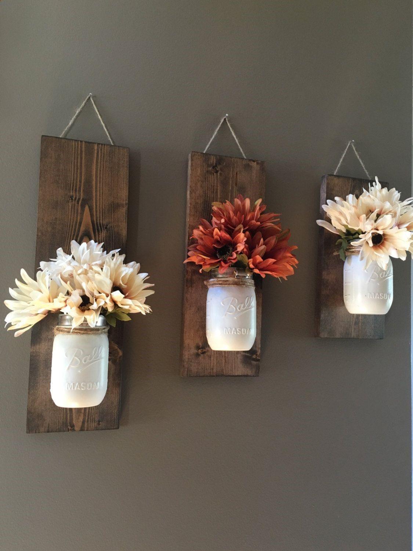 Fall Wall Sconce Individual Mason Jar Flower Vase Rustic Decor