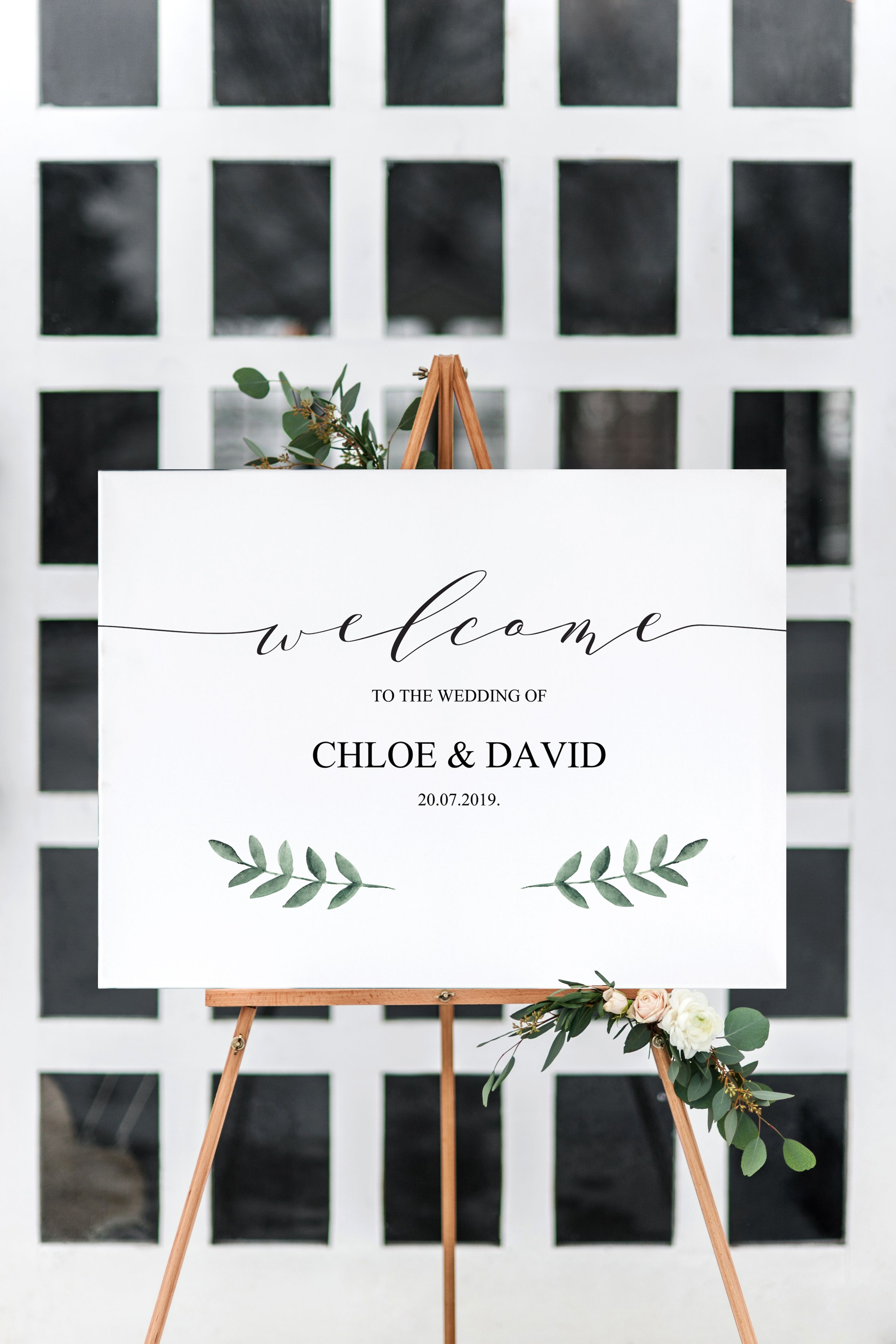 graphic relating to Welcome Signs Template titled Greenery Wedding day Welcome Indicator Template, Printable Poster