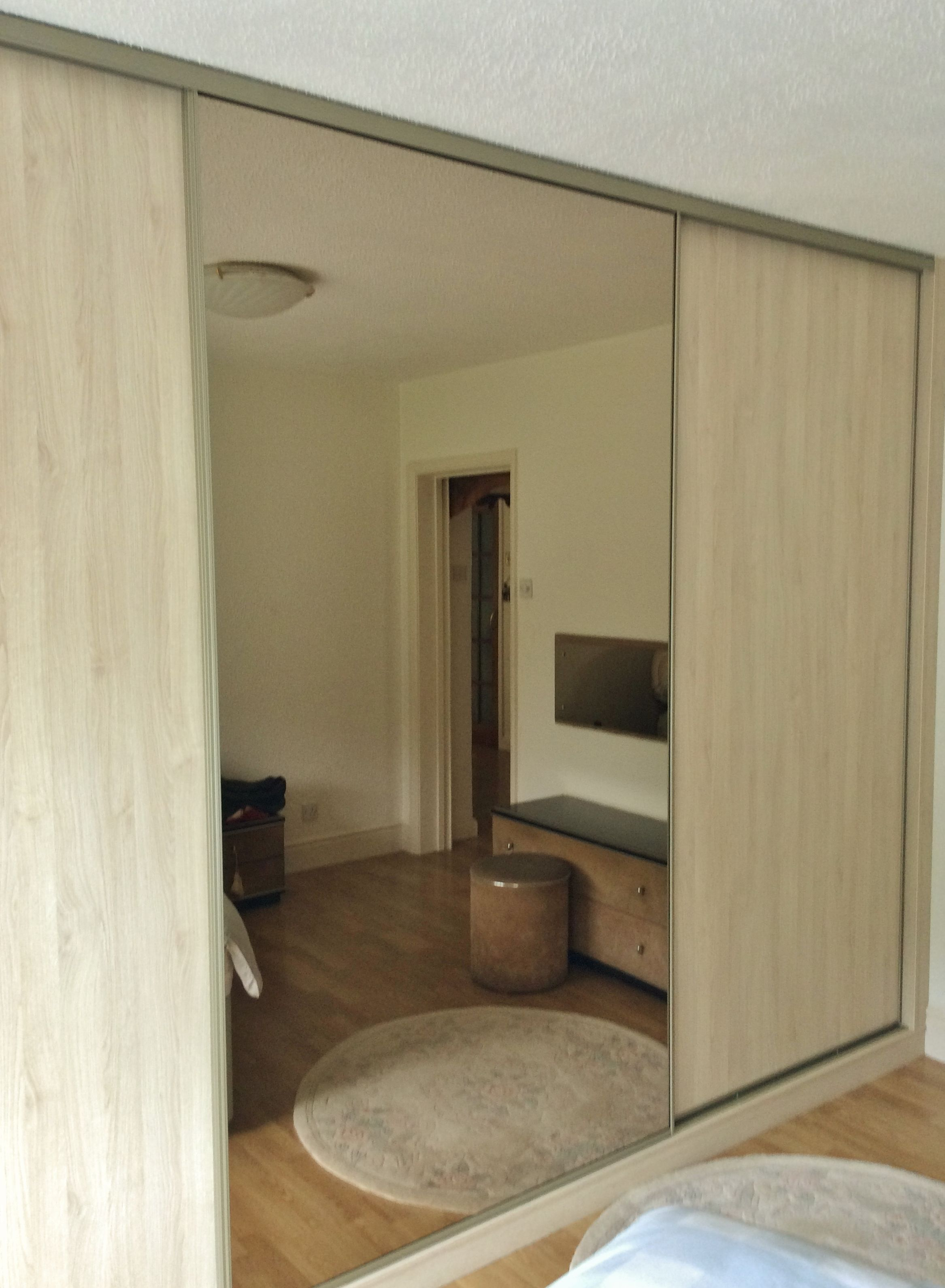 3 Door Wardrobe In Mirror And Light Oak Fitted Bedrooms Fitted