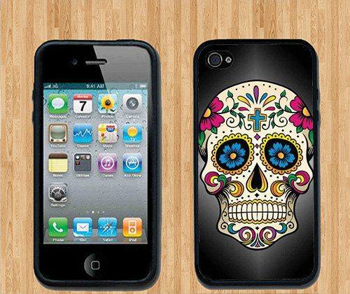 Flower Skull iPhone Case - Rubber Silicone iPhone 4 Case or Plastic iPhone 5 Case - Free Screen Protector Included. $13.99, via Etsy.
