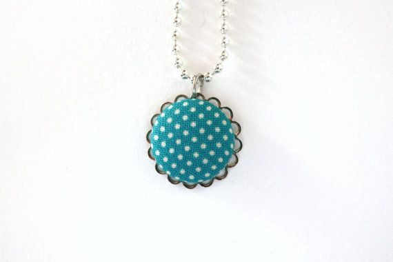 Fun splash of color with this handmade Covered Button Necklace.