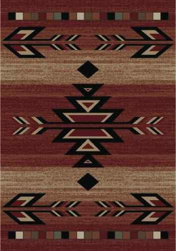 8x10 Lodge Cabin Southwest Southwestern Rio Grande Red Black Beige Area Rug Rugs