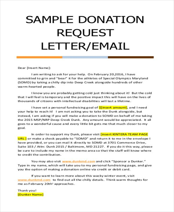 Sample Donation Request Letter Letters Asking For Donations Made