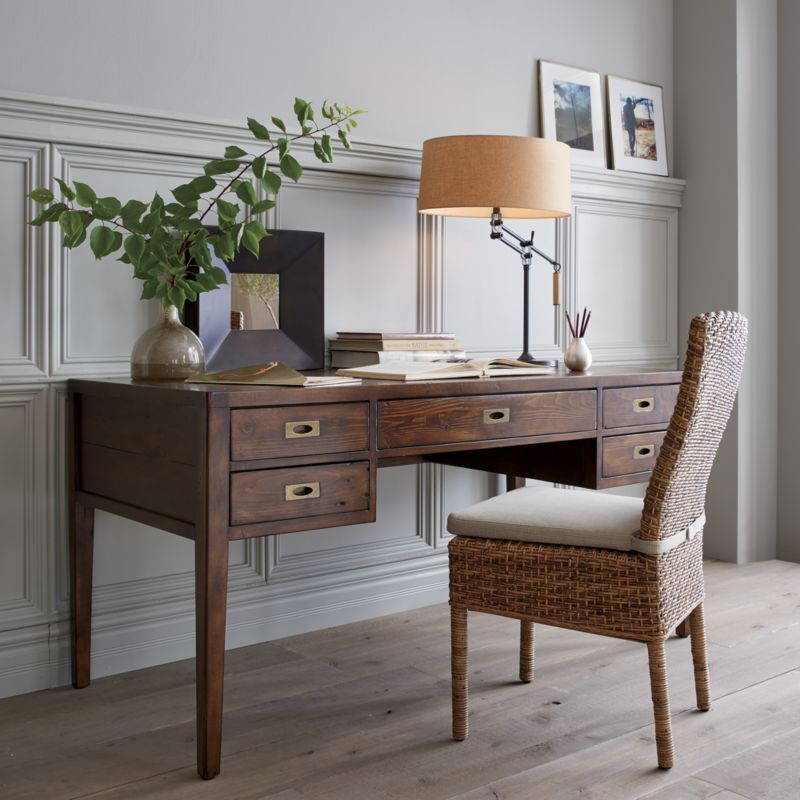 Morris 60 Chocolate Brown Desk Reviews Crate And Barrel Brown Desk Grey Desk Adjustable Table Lamps