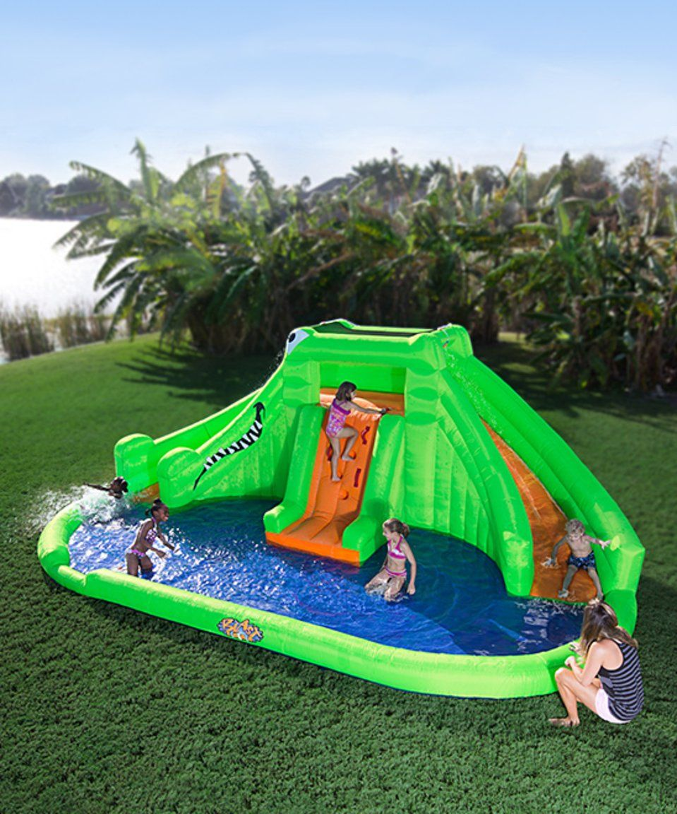 take a look at this blast zone crocodile isle inflatable water