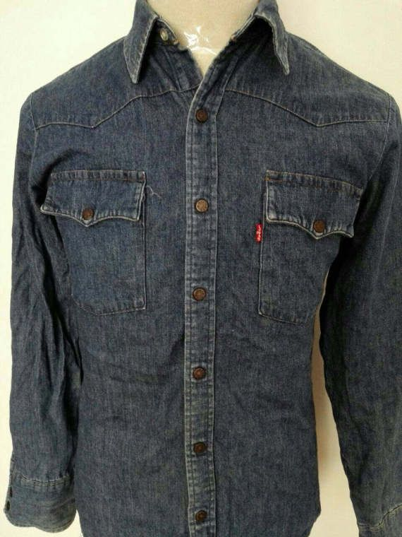 30f01efbd8 Vintage Levis Denim Shirt Western Wear Snap Button Down Shirt Blue Jeans  Shirt Size Medium