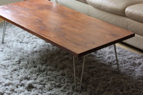 DIY Coffee Table With Mid Century Modern Hairpin Legs.