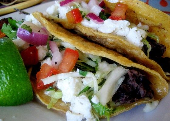 Crispy Black Bean Tacos with Feta and Cabbage Slaw // perry's plate