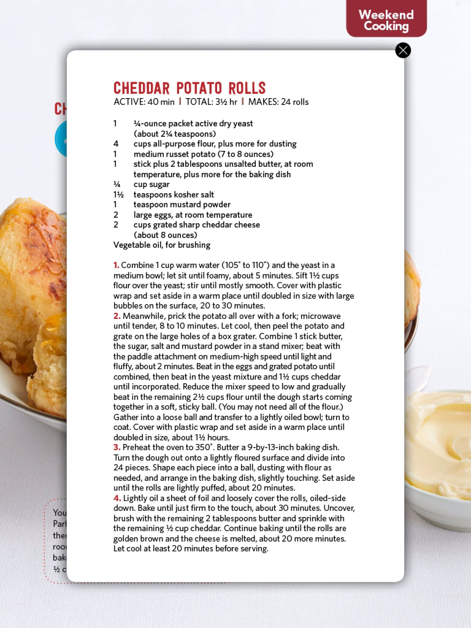 Cheddar potato rolls