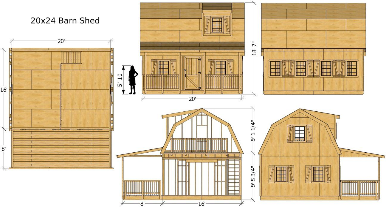 Barn Shed Plan 3 Sizes Barns Sheds Shed Shed Plans