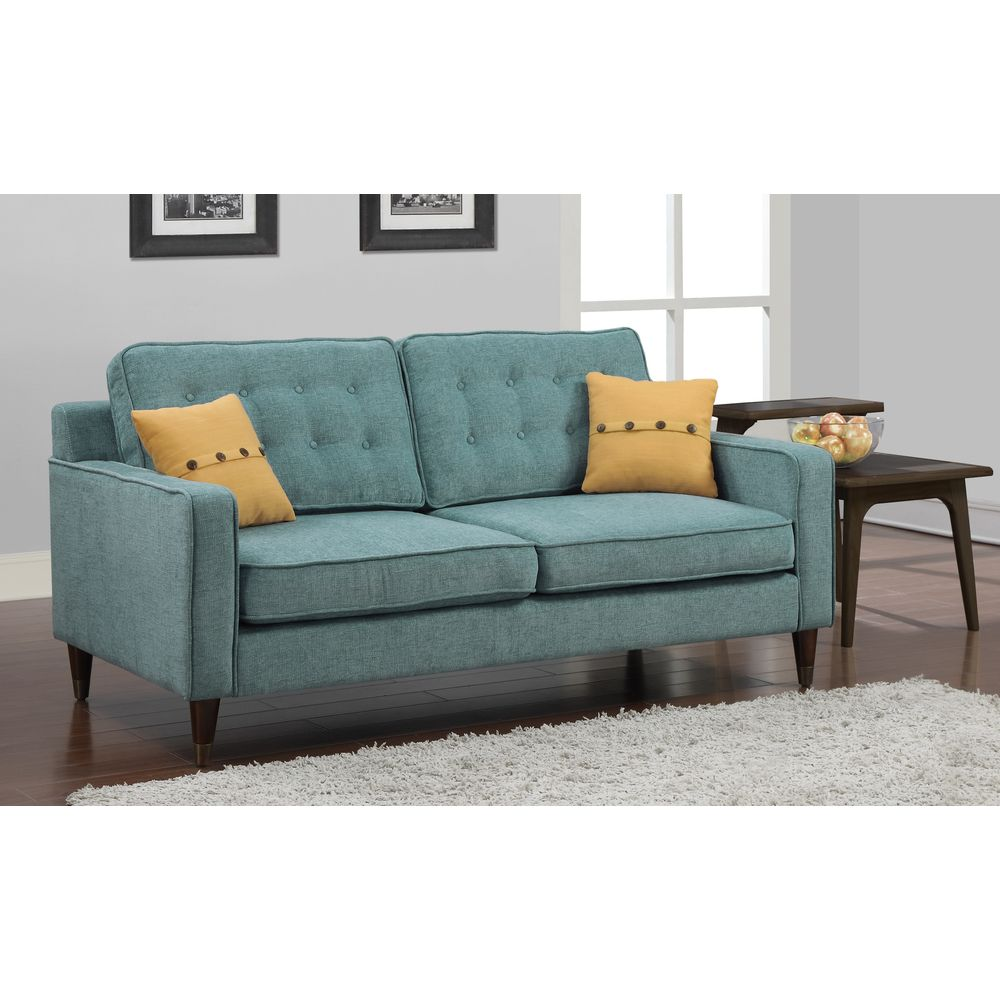 Jackie Aqua Sofa With French Yellow On Pillow Ping Great Deals Sofas Loveseats