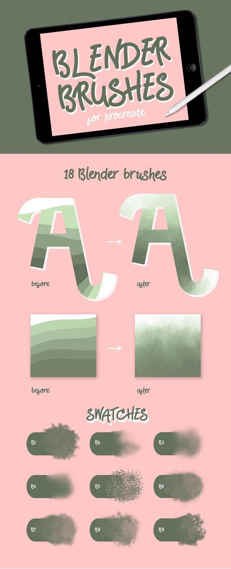 Blender brushes for procreate blend and smudge set of