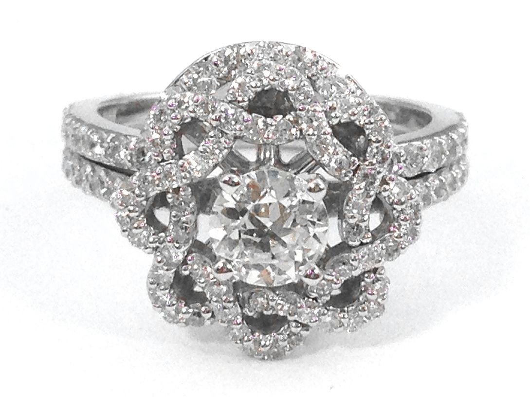 Floral Halo Diamond Engagement Ring and Wrap Wedding Band