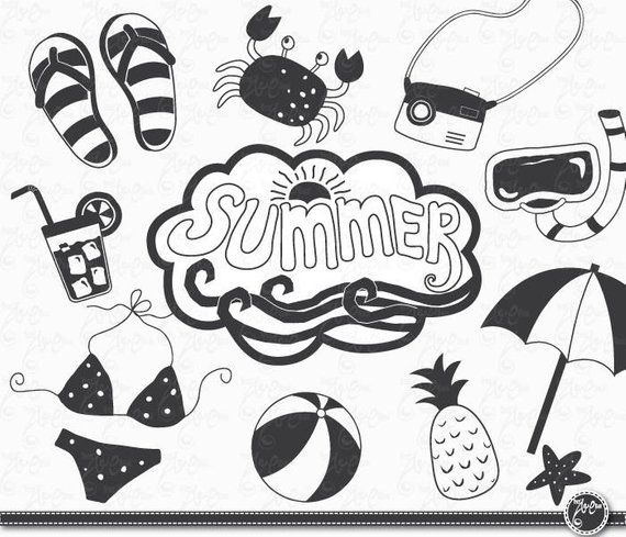 Hand Draw Summer Summer Clip Art Pack Summer Clipart Nautical