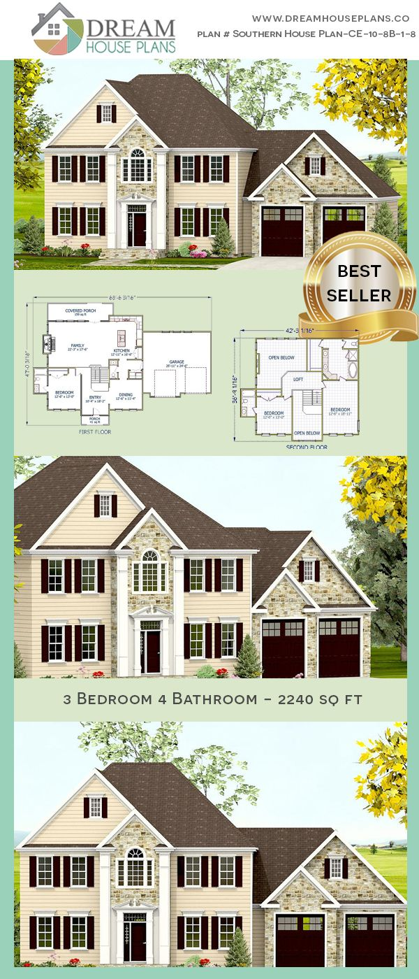 3 Bedroom 4 Bathroom 2240sq Ft Southern House Plan Ce
