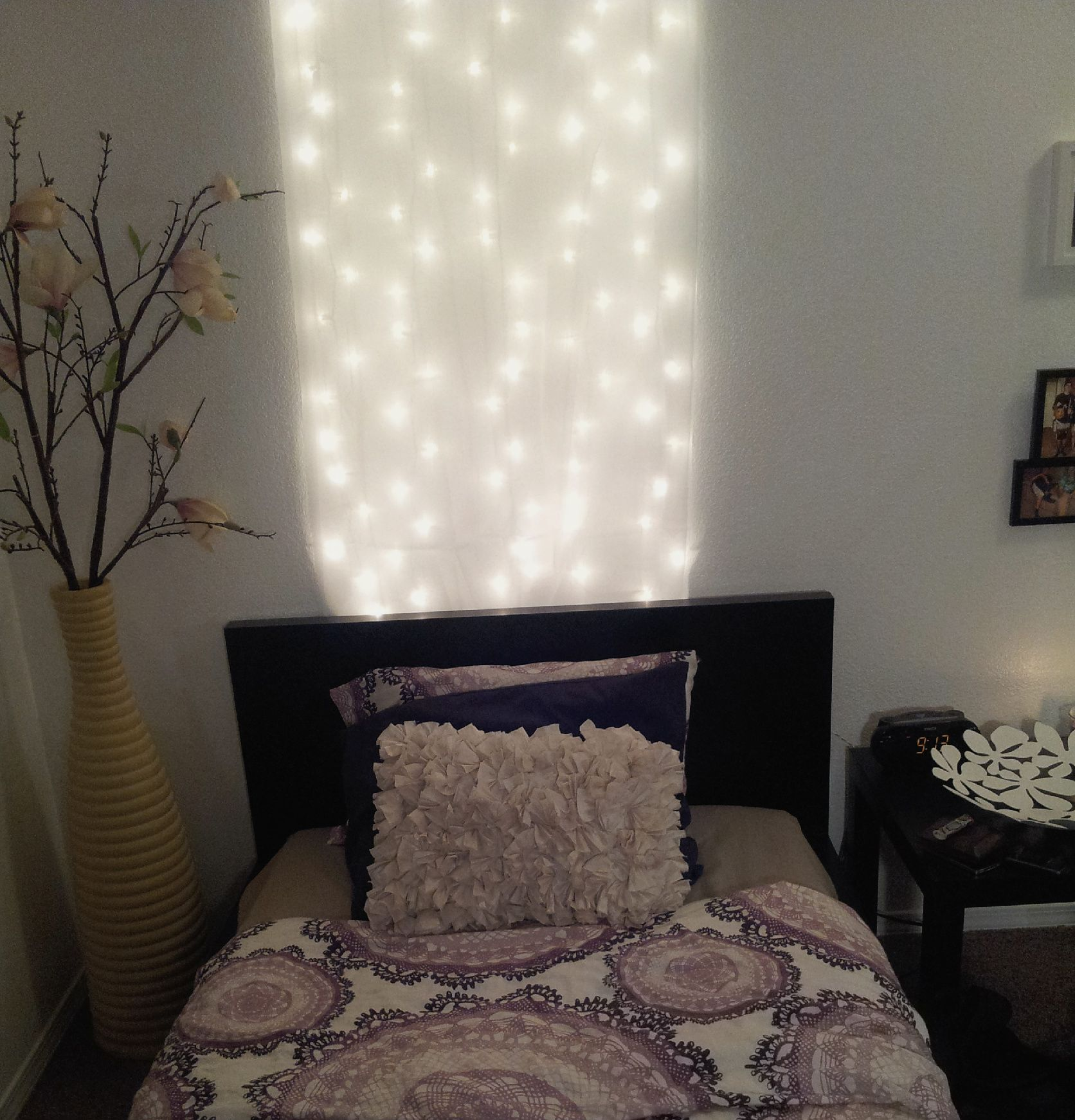 Diy Headboards With Lights diy headboard under $10! 1 pack of white christmas lights and