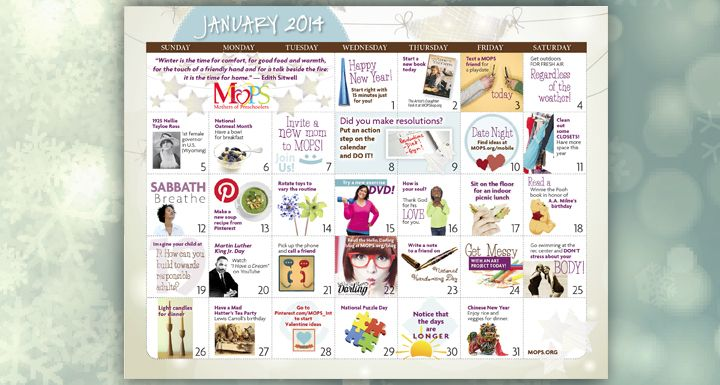 January Activity Calendar for Mothers of Preschoolers from MOPS - activity calendar