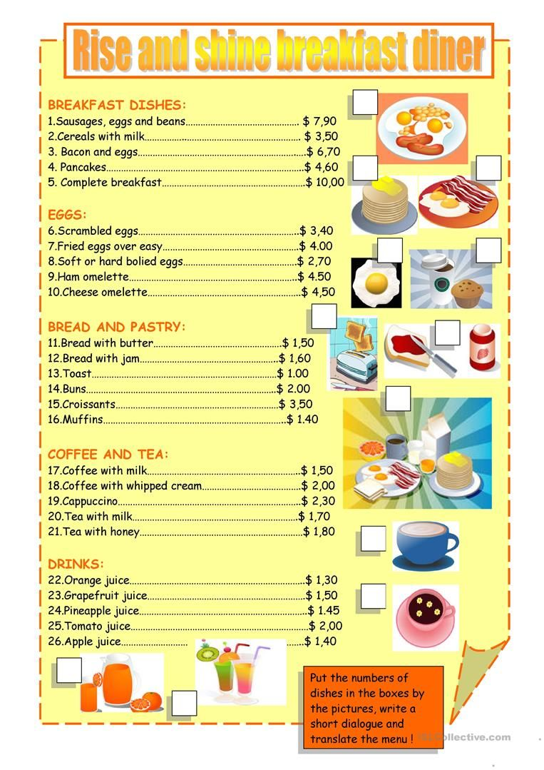 Breakfast Menu Worksheet Free Esl Printable Worksheets Made By Teachers Printable Math Worksheets Math Worksheets Printable Menu