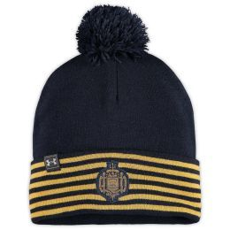 You're an avid Navy Midshipmen fan and love to flaunt it. Show the Navy Midshipmen your support by grabbing this 175 Years Performance Cuffed Pom Knit Hat from Under Armour. It features bold Navy Midshipmen graphics, so no one will be able to question where your allegiance lies every time you rock this sweet gear. Material: 100% Acrylic Stretch fit ColdGear technology absorbs and retains your own body heat Pom on top Cuffed One size fits most Woven stripes Embroidered graphics with raised detail