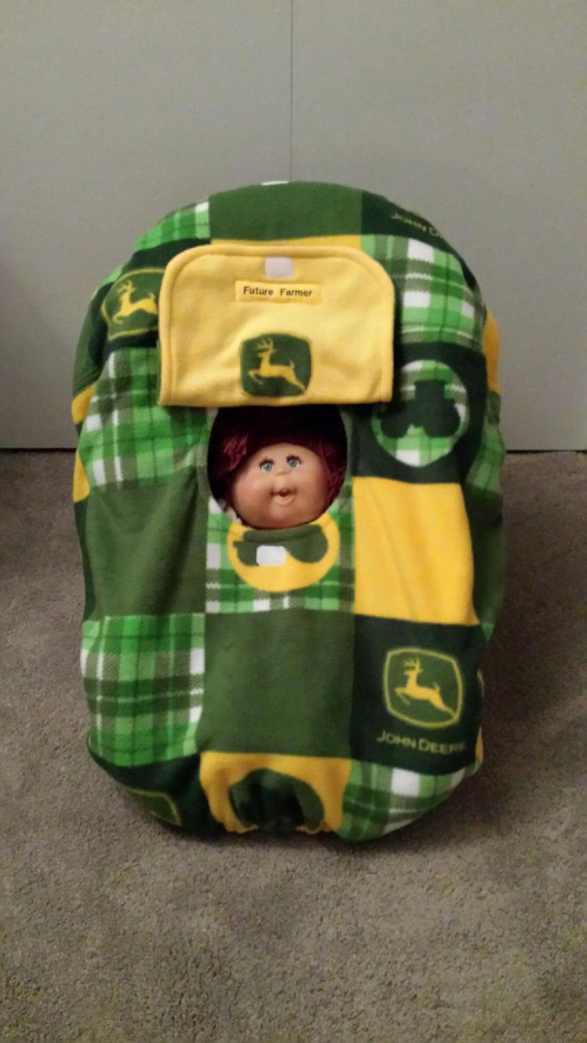 c2cedad1133 Cozy Hand Made Custom Embroidery Personalized Double Thick John Deere  Fleece Infant Car Seat Carrier