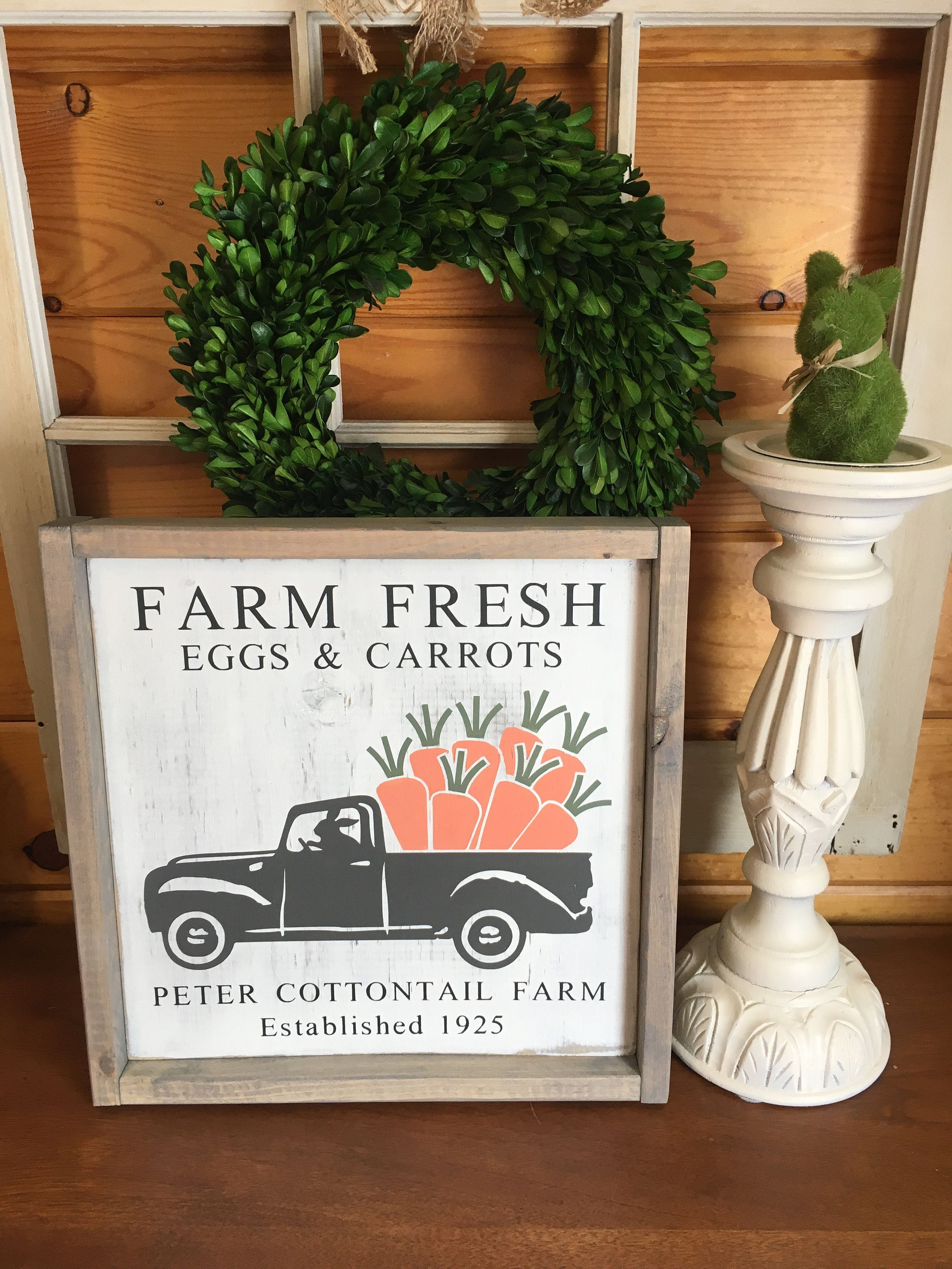 This item is unavailable  Peter Cottontail Farm Sign Farm Fresh Eggs  Carrots Easter Sign Vintage Sign Rustic Sign Dist