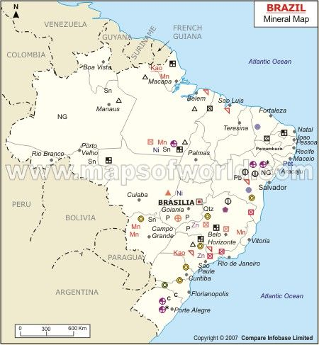 Brazil Mineral Map Natural Resources Of Brazil Historical Maps History Geography Map
