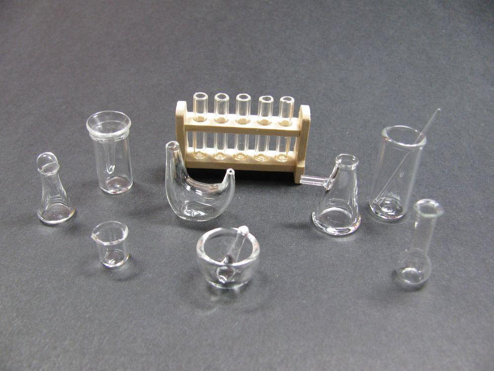 Dollhouse Miniature Wood Test Tube Rack Tubes Laboratory Decoration Ga