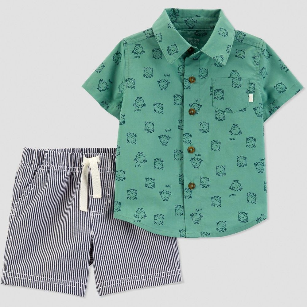 4dcc01bbf Baby Boys' 2pc Stripe Monster Set - Just One You made by carter's Green/Blue  18M
