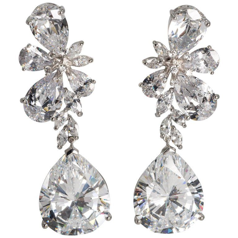 Magnificent Costume Jewelry Large Diamond Earrings From A Unique Collection Of Vintage Chandelier At