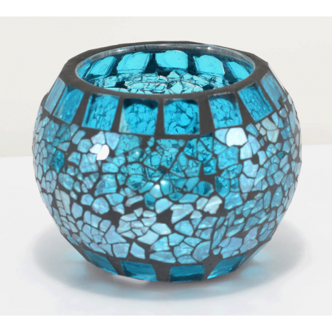 Mini Mosaic Globe with Tea Light in Blue