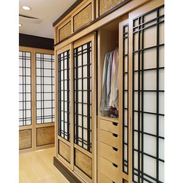 This Contemporary Bedroom Set Of Headboard Cabinets, Dressers, And Display  Units Have An Asian Flare With Shoji Screen Closet Doors And Cabinet Side Pu2026