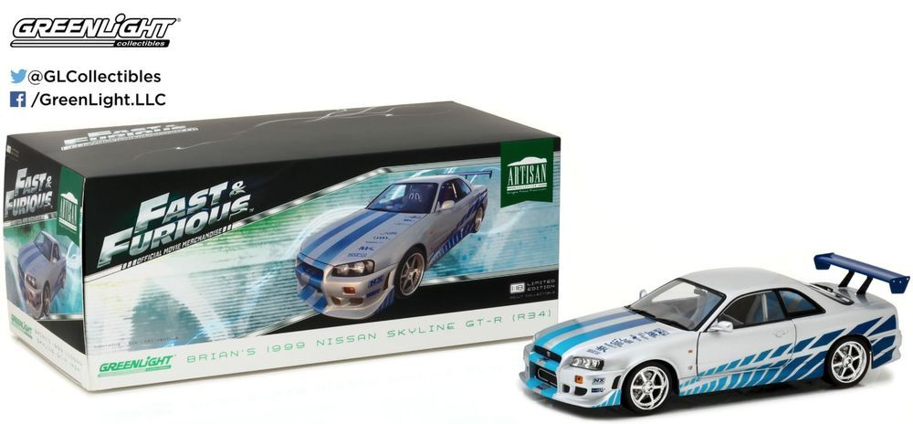 1:18 Greenlight Nissan  Skyline GT-R BNR34 Fast /& Furious Brian