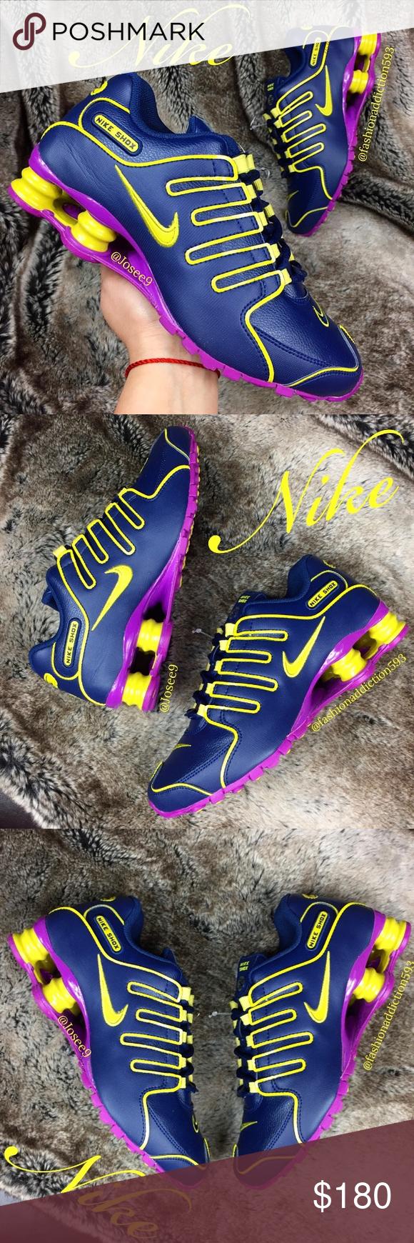 1972845897f7 Nike SHOX NZ Women s Navy Blue purple yellow shoes •Brand new •Authentic  •Box