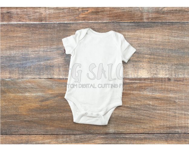 55f4a7c03 FREE White Baby Onesie Mockup on Wooden Background in JPEG Format ...