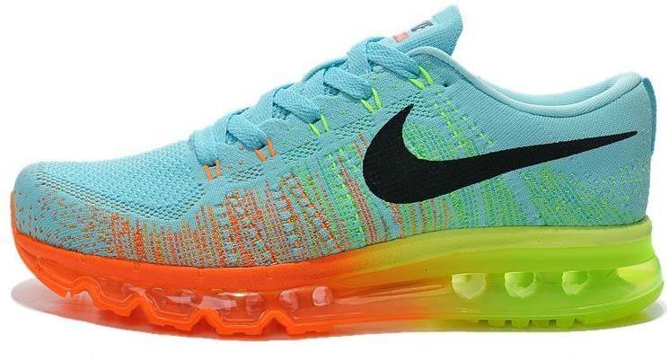 detailed look 44f3b 052af Nike Air Max 2014 Flyknit Blue Orange Black Green